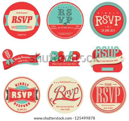 vector set vintage RSVP Label - stock vector