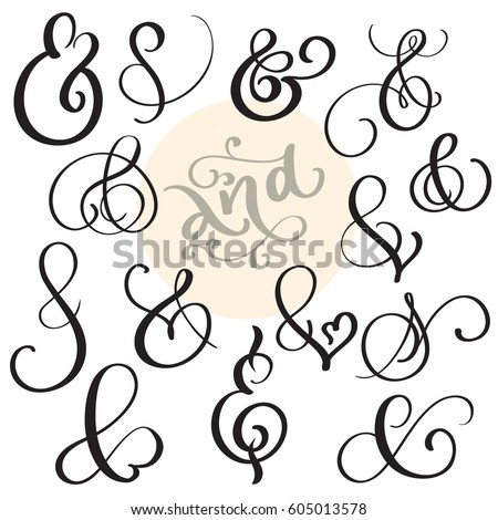 Vector Set Vintage Sign Ampersand On Stock Vector