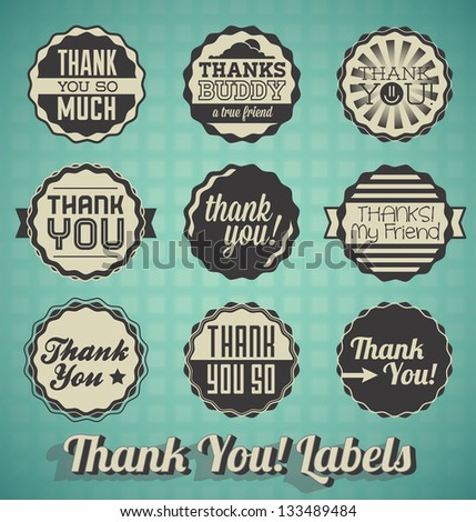 Vector Set: Vintage Style Thank You Labels - stock vector