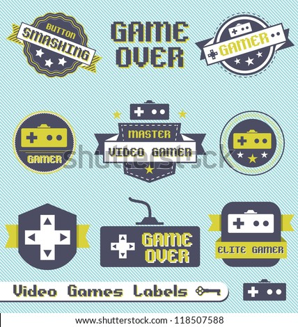 Vector Set: Vintage Video Game Labels and Icons - stock vector