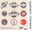 Vector Set: Vintage Volleyball League Champs Labels - stock photo