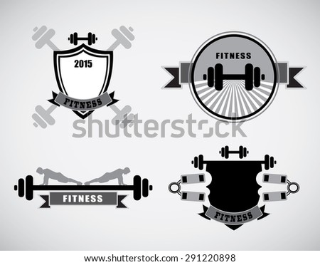Vector Set Vintage Weight Lifting Labels and Stickers  - stock vector