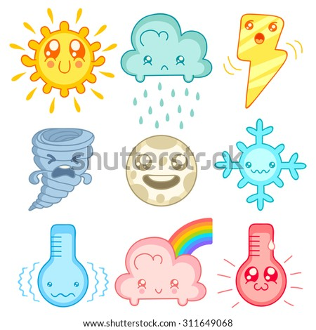 Vector set weather icons in mangs style. Kawaii