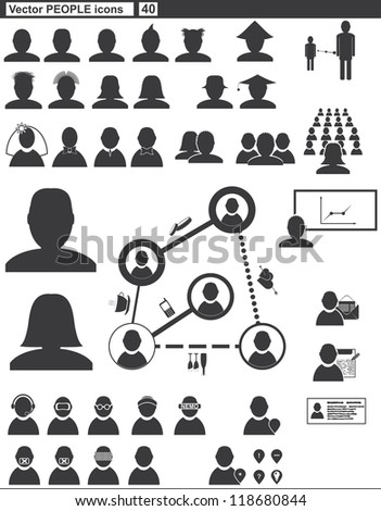 Vector set web icons. people and communication - stock vector