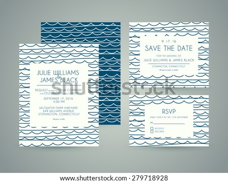 Vector set Wedding invitation cards with abstract water background. Template Wedding invitations or announcements - stock vector