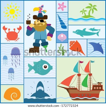 Vector set which represent various sea elements. Abstract decorative cute illustration. Graphic design elements for print and web - stock vector