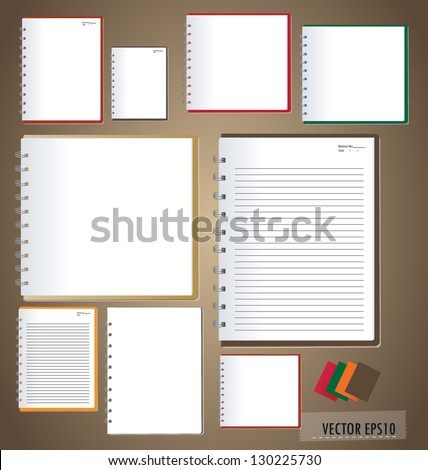 Vector set: White paper designs (paper sheets, lined paper and note paper) - stock vector