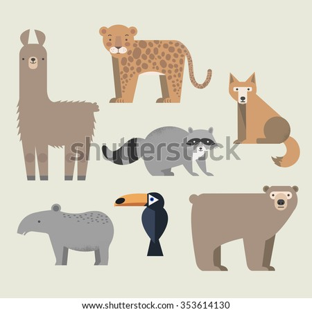 Vector set Wild animals. Lama, raccoon, tapir, grizzly bear, coyote, cockatoos and jaguar. North and South America. Flat style character. Vector illustration - stock vector