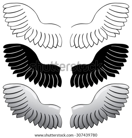Vector set. Wings. Black outline and painted - stock vector