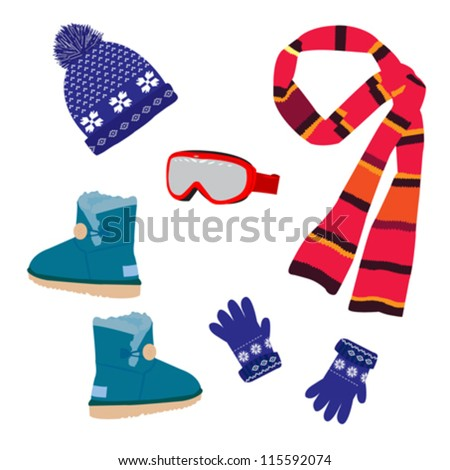 Vector set winter clothing - stock vector