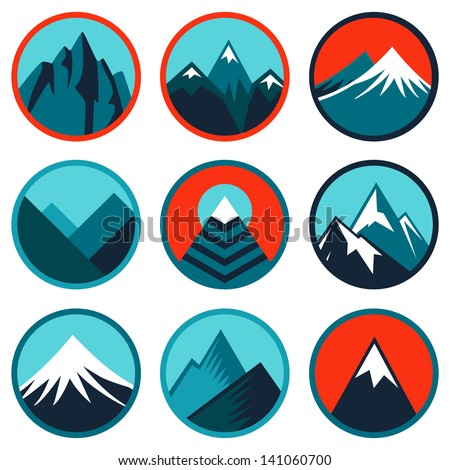 Vector set with abstract emblems and icons - mountains and summits in blue color - stock vector