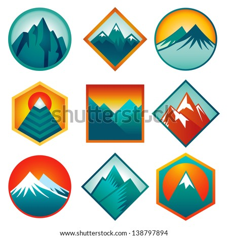 Vector set with abstract signs and  icons - mountains and summits in blue color - stock vector