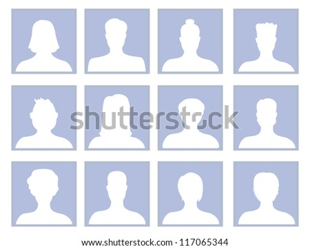 Vector set with avatar icons - men and women silhouette - stock vector