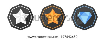 Vector set with awards icons of silver or platinum, gold, diamond - stock vector