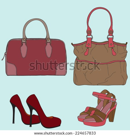 Vector set with bags and shoes