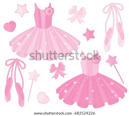Vector Set With Ballet Shoes And Tutu Dresses Ballerinas Pointe