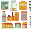 Vector set with buildings icons - map elements in retro style - stock vector