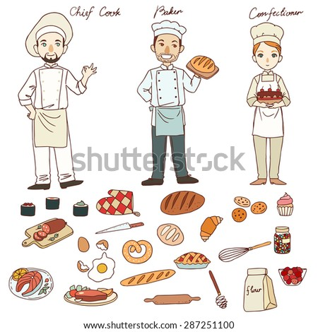 Vector set with Chief cook, Baker and Confectioner. Profession - stock vector