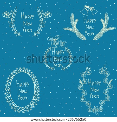 Vector set with christmas floral frames - stock vector