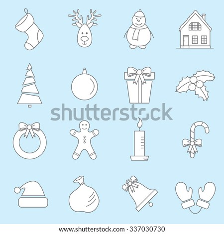 vector set with Christmas, New Year icons