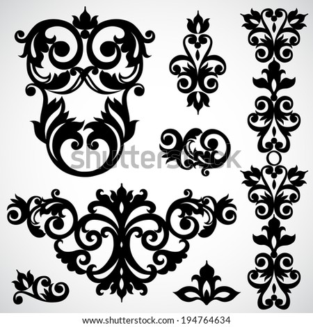 Vector set with classical ornament in Victorian style. Ornate element for design. Frames and vignettes for your text. Pattern for wedding invitations, greeting cards. Traditional floral decor. - stock vector