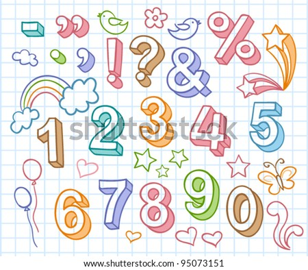 Vector set with colorful hand written ABC letters and figures