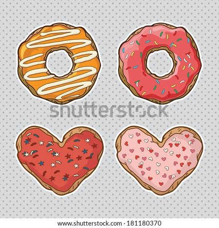 Vector set with cookies and donuts - stock vector