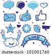 vector set with cool social media signs in cartoon style - stock vector