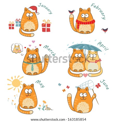 vector set with cute bright cats. calendar - stock vector