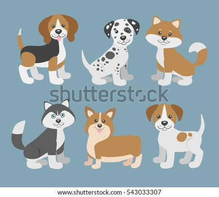 Vector set with cute cartoon dog puppies.Dogs breeds. Beagle, dalmatian, shiba inu, husky, corgi, jack russell terrier