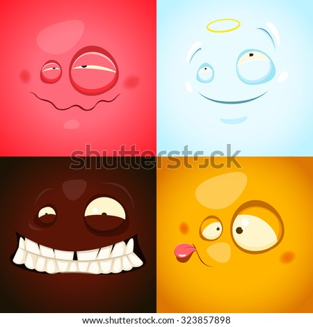 Vector set with cute different emotions - stock vector