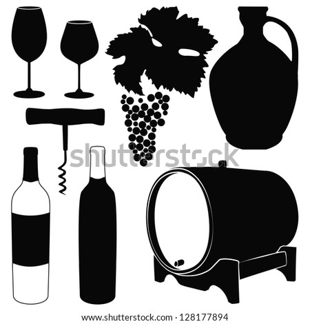 Vector set with decorative elements - glasses for white wine, grapes, bottle, grapes  and decoration - stock vector