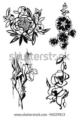 vector set with decorative flowers with ornamental elements, artistic sketch, vector drawings