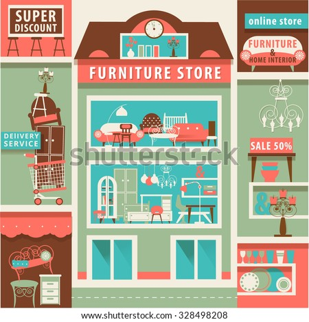 vector set with design elements for on line furniture and home interior store