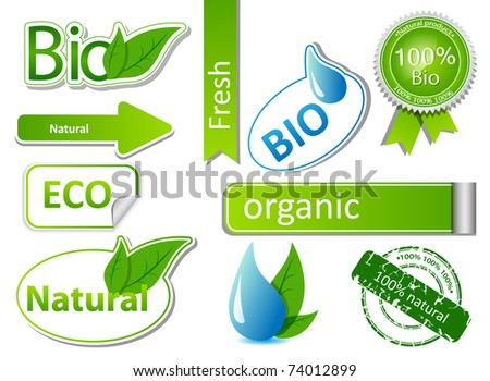 Vector set with different bio sticker patterns - stock vector