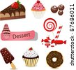 Vector set with different types of sweets - stock vector