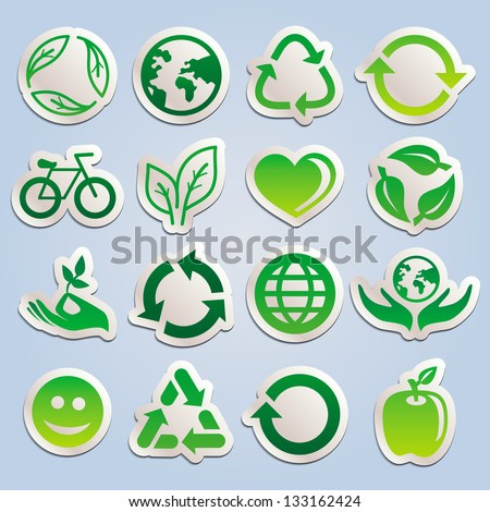 Vector set with ecology stickers - green signs symbols and signs - stock vector