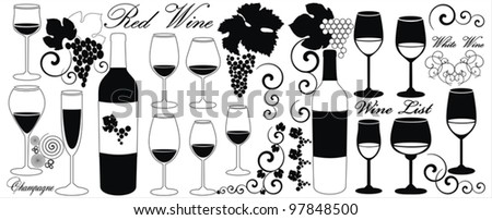 vector set with four decorative elements -  glasses for white wine, white wine, champagne, grapes, bottle, grapes ornaments and decoration - stock vector