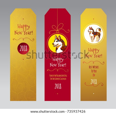 Vector set golden tags illustration dog stock vector 735937426 vector set with golden tags with illustration of dog symbol of 2018 on the chinese m4hsunfo