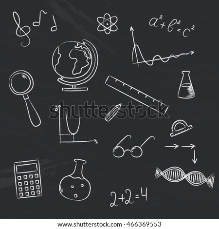 Vector set with graphic chalk school elements on chalkboard. School items on chalkboard.