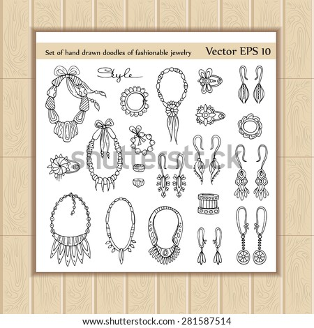 Vector set with hand drawn doodles of fashionable jewelry for women on white background. Necklaces, earrings, brooches and bracelets icons. Sketches for use in design - stock vector