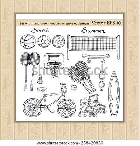 Vector set with hand drawn doodles of sport equipment on white background. Sketches for use in design - stock vector