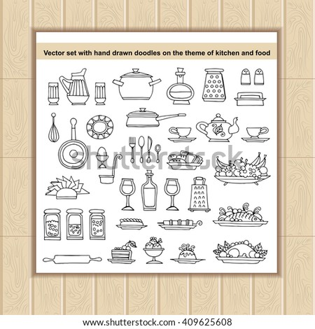 Vector set with hand drawn doodles on the theme of kitchen and food. Flat illustrations of tableware and dishes. Sketches for use in design, web site, packing, textile, fabric - stock vector