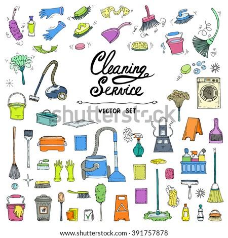 Vector set with hand drawn, isolated and colored doodles of cleaning service. Flat illustrations on the theme of cleanliness. Sketches for use in design, web site, packing, textile, fabric - stock vector