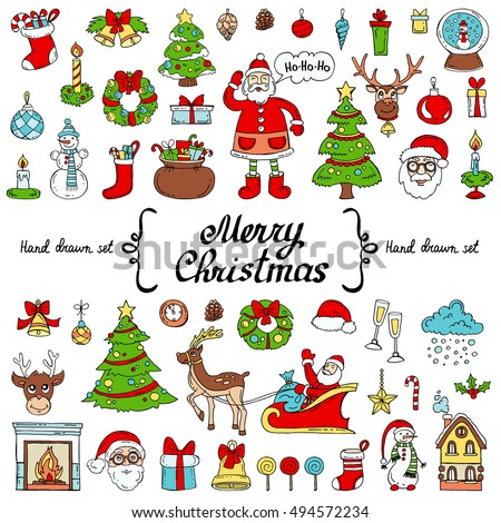 Vector set with hand drawn isolated colored doodles on the  theme of Merry Christmas, Happy New Year on white color. Symbols of holiday. Sketches for use in design