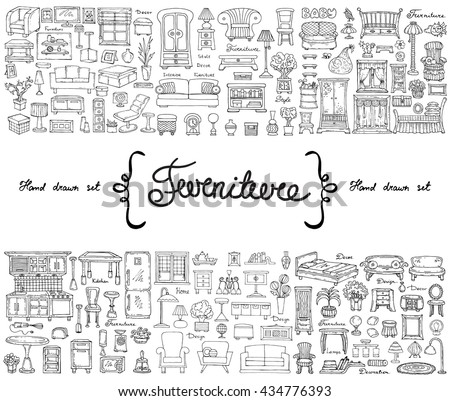 Vector set with hand drawn isolated doodles on the  theme of furniture. Flat illustrations of objects for decoration and interior. Sketches for use in design