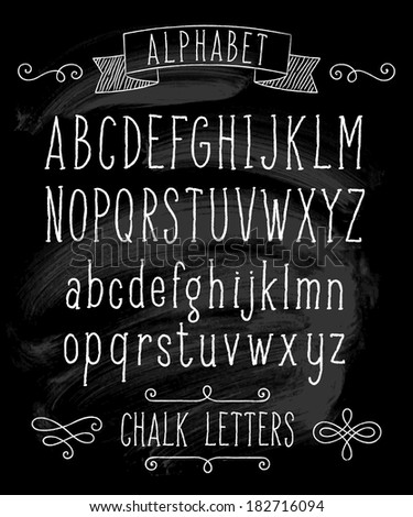 Vector set with hand written ABC letters and typography elements on black background. Chalk design - stock vector