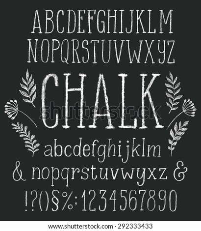 Vector set with hand written ABC letters and typography elements on black background. Chalk design, floral elements