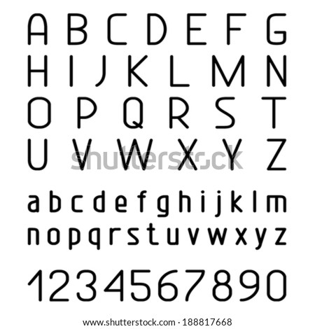 Vector set with hand written ABC letters. Vector black letters and numbers. Isolated on white background. - stock vector