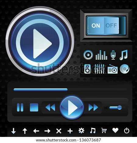 Vector set with interface design elements for music player in blue color - signs and icons